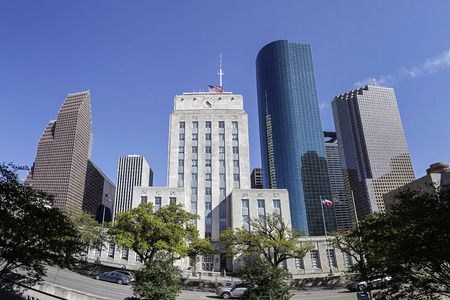 town halls: A View of Houston City Hall and Downtown, Texas