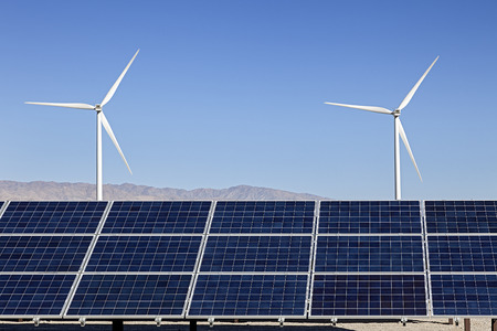 electric grid: Solar Panels and Wind Turbines Power Stock Photo