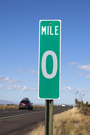 highroad: A Green Zero Mile Road Sign on the Freeway