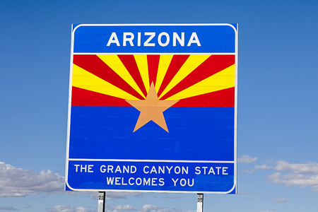 An Arizona State Welcomes You Road Sign Stock Photo