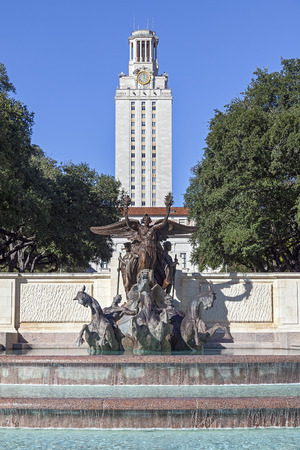 University of Texas at Austin Main Tower Building and Littlefield Fountain