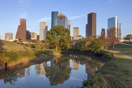 city park skyline: Buffalo Bayou and Downtown Houston, Texas