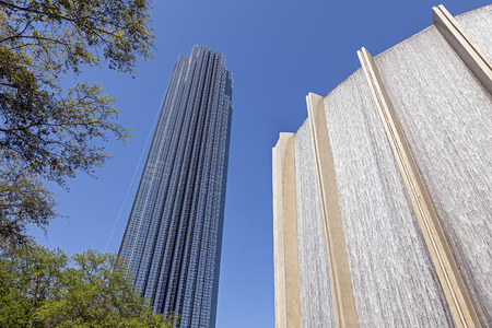 wall angle corner: A Water Wall and Williams Tower in Houston, Texas  Editorial