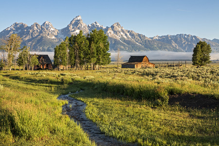 Morning at Moulton Barn in the Grand Teton National Park, Wyoming photo