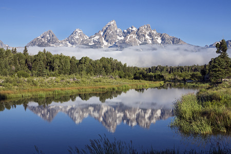 sunrise mountain: Clear Day at Schwabacher's Landing on the Sank River in Grand Teton National Park, Wyoming  Stock Photo