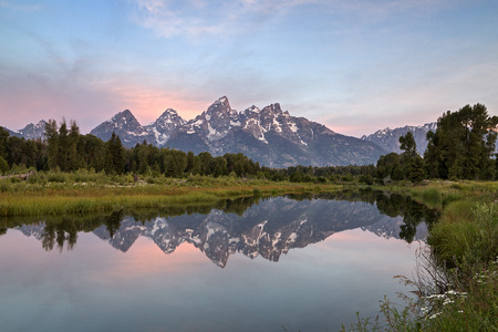 sequester: Early Morning at Schwabachers Landing on the Sank River in Grand Teton National Park, Wyoming  Stock Photo