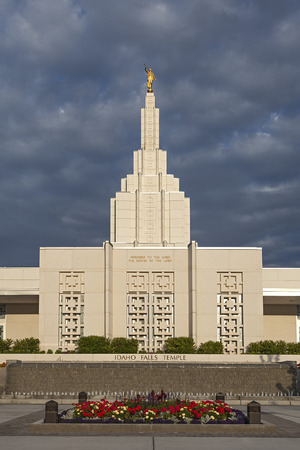 mormon temple: Mormon Temple in Idaho Falls, ID Stock Photo
