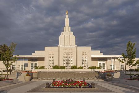 mormon temple: Mormon Temple in Idaho Falls, ID Stock Photo