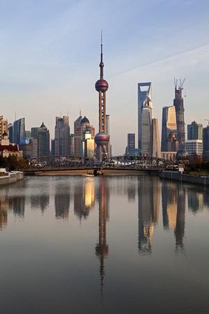 Shanghai Pudong at Sunset, China