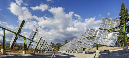 Trackers Solar Panels Stock Photo