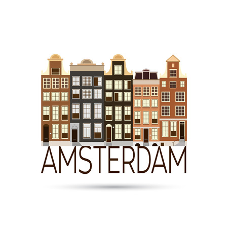 european culture: Old colourful buildings in Amsterdam.