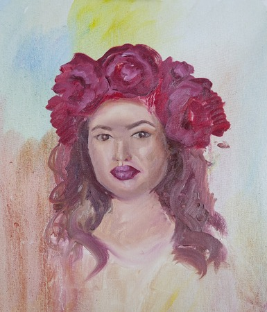 Portrait of a young girl painted by a beginner artist. A girl in a wreath of scarlet peonies.