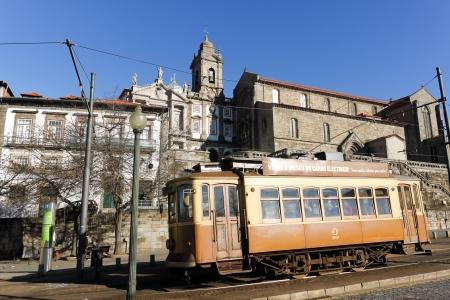 oporto: Old  tramway runs in Oporto