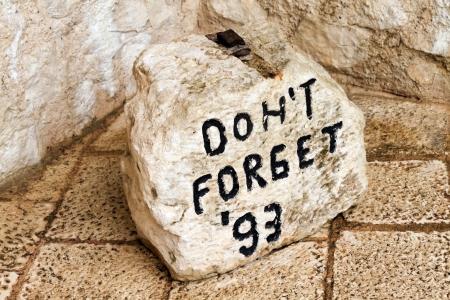 mostar: Stone marker in Mostar Stock Photo