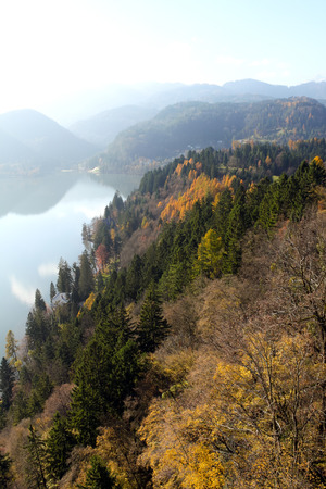 bled: Lake Bled and mountains Stock Photo