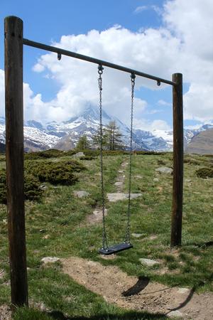 swing seat: Sedile altalena, Zermatt Archivio Fotografico