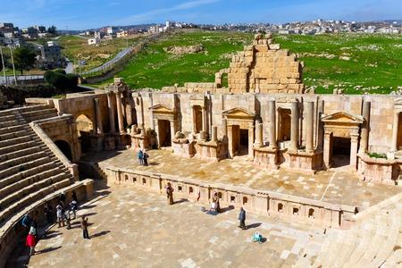 greco roman  roman: South Theatre, Roman ruins in the city of Jerash Stock Photo