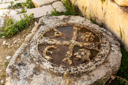 greco roman  roman: Ornamental carving of Jerash, Jordan