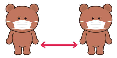 Bear character wearing a surgical or medical face mask. They maintain social distancing to prevent from coronavirus spreading.
