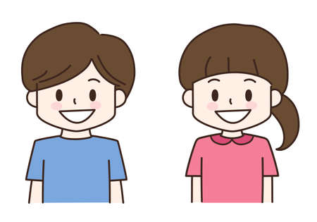 Boy and girl smiling. Vector illustration in cartoon style isolated on white background.