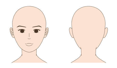 Mannequin of skinhead woman face. Vector illustration isolated on white background.