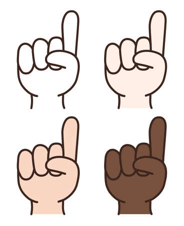 Set of hand gesture with a raised index finger. Vector illustration isolated on white background.