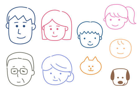 Set of happy family icons. Vector illustration isolated on white background.