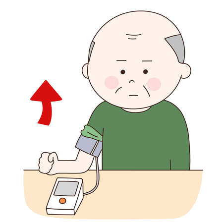 Elderly man suffering from high blood pressure. Vector illustration isolated on white background.