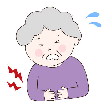 Elderly woman getting a stomach ache. Vector illustration isolated on white background.