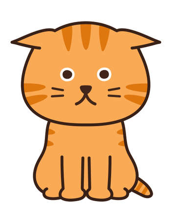 Lop-eared feeling down cat. Vector illustration isolated on white background.