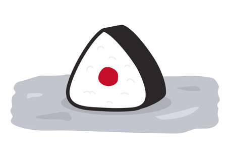 Onigiri, Rice ball wrapped in seaweed. Vector illustration isolated on white background.