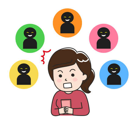 Shocked woman looking at social media. Isolated on white background.