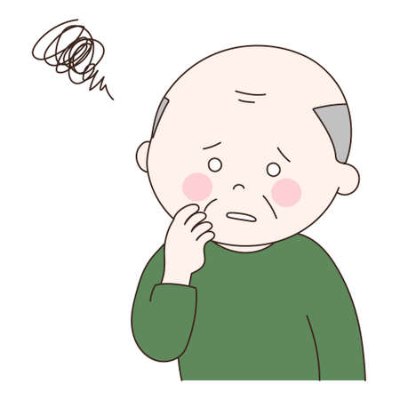 Elderly man having difficulty. Vector illustration isolated on white background. Vetores