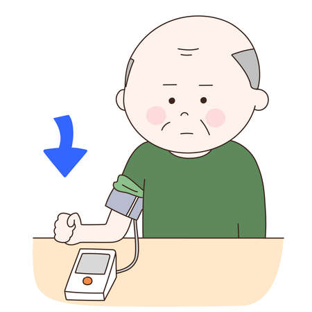 Elderly man suffering from high blood pressure. Vector illustration isolated on white background. Stock fotó - 156029355