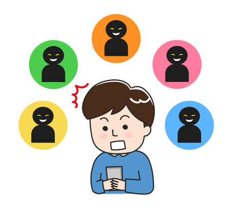 Shocked man looking at social media. Isolated on white background. Illustration