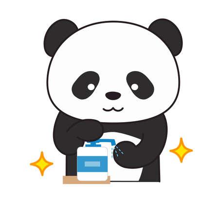 Giant panda washing hands with sanitizer. Vector illustration isolated on white background.