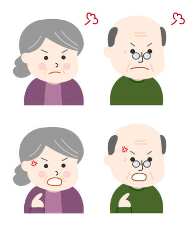 Set of elderly people getting angry. Vector illustration isolated on white background.