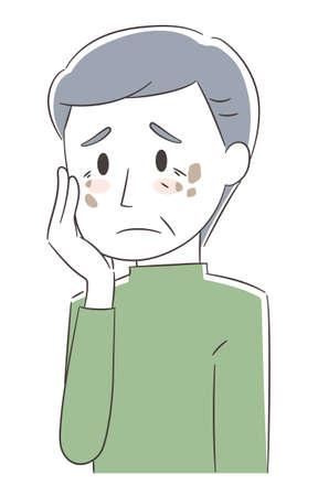 Worried man having skin problems. Vector illustration isolated on white background. 矢量图像