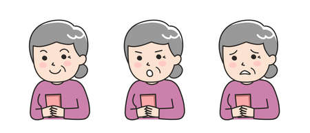 Different expressions of elderly woman using a smartphone. Vector illustration isolated on white background.