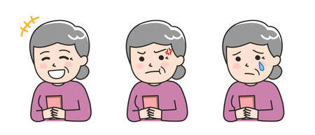 Facial expressions of elderly woman using a smartphone. Vector illustration isolated on white background.