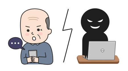 Elderly man browsing fake news sites. Vector illustration isolated on white background.