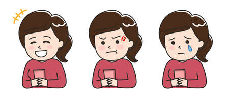 Facial expressions of young lady using a smartphone. Vector illustration isolated on white background. Illusztráció