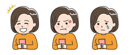 Facial expressions of woman using a smartphone. Vector illustration isolated on white background.