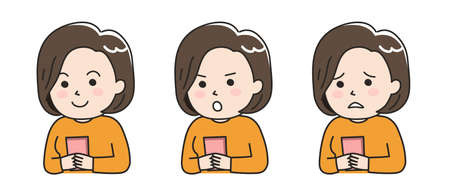 Different expressions of woman using a smartphone. Vector illustration isolated on white background.