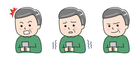 Facial expressions of woman using a smartphone in a bad situation. Vector illustration isolated on white background.