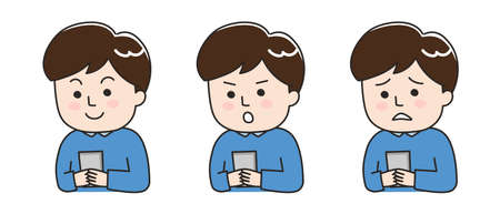 Different expressions of young man using a smartphone. Vector illustration isolated on white background.