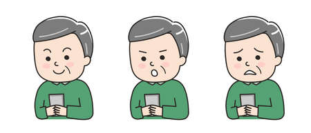 Different expressions of man using a smartphone. Vector illustration isolated on white background. Illusztráció