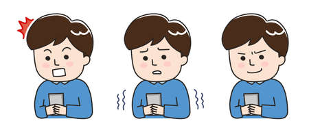 Facial expressions of young man using a smartphone in a bad situation. Vector illustration isolated on white background.