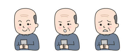 Different expressions of elderly man using a smartphone. Vector illustration isolated on white background.