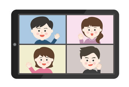 Young people waving their hand an online meeting on tablet or smartphone. Vector illustration isolated on white background.